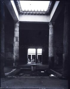 ITALIE-Pompei-Peristyle-c1900-NEGATIF-Photo-Stereo-Plaque-Verre-VR10L8n5