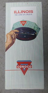 1960-Illinois-road-map-Conoco-oil-gas-route-66-early-interstate-Land-of-Lincoln