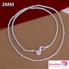 925 Sterling Silver 2mm Rope Chain Womens Girls Necklace Gift 18 Inch