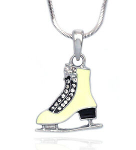 Ivory ice figure skating sport shoes skate pendant necklace gift for image is loading ivory ice figure skating sport shoes skate pendant aloadofball Gallery