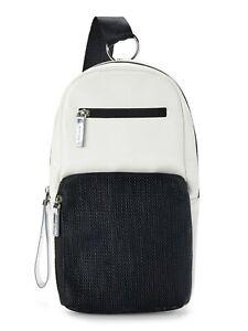 No Boundaries Caden Sling Functional Crossbody Shoulder Bag White & Black