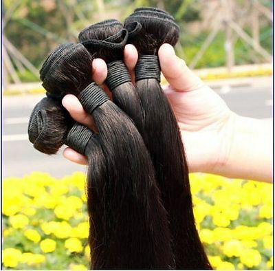 14-28 Natural Virgin Brazilian Straight Human Hair Weft Extensions 100g