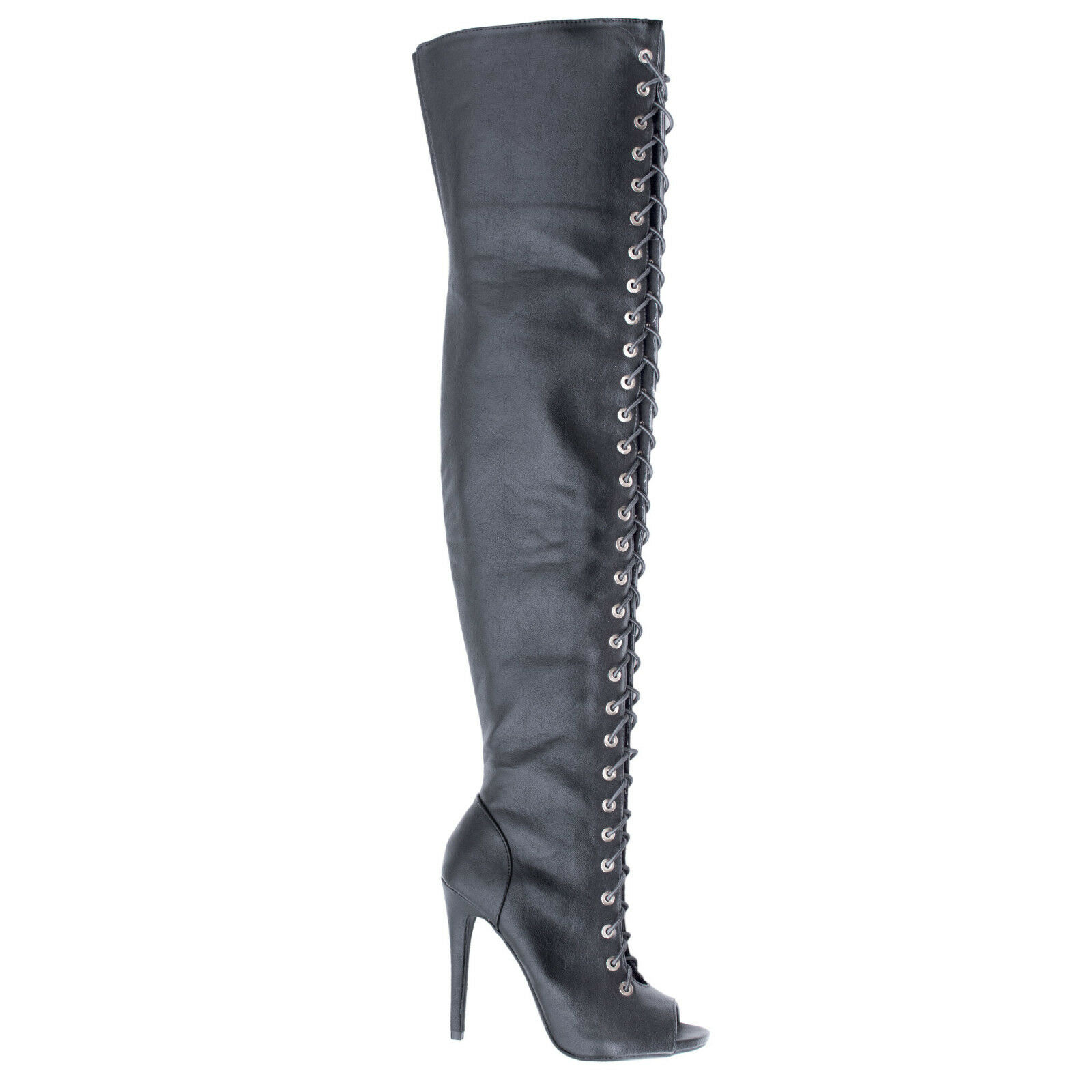 Shallow Thigh High Peep Toe Corset Elastic Lace Stiletto High Heel Boots