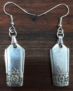 Antik Vintage Löffel Cutoff Silber Rose Oneida Ohrring Silberbesteck Platte Schmuck