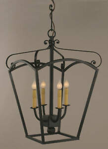Solid wrought iron lantern chandelier with 4 lights ideal for image is loading solid wrought iron lantern chandelier with 4 lights aloadofball Image collections