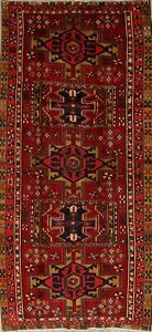 One-of-a-kind Vintage Geometric Tribal Heriz Oriental HandKnotted 5'x10' Red Rug