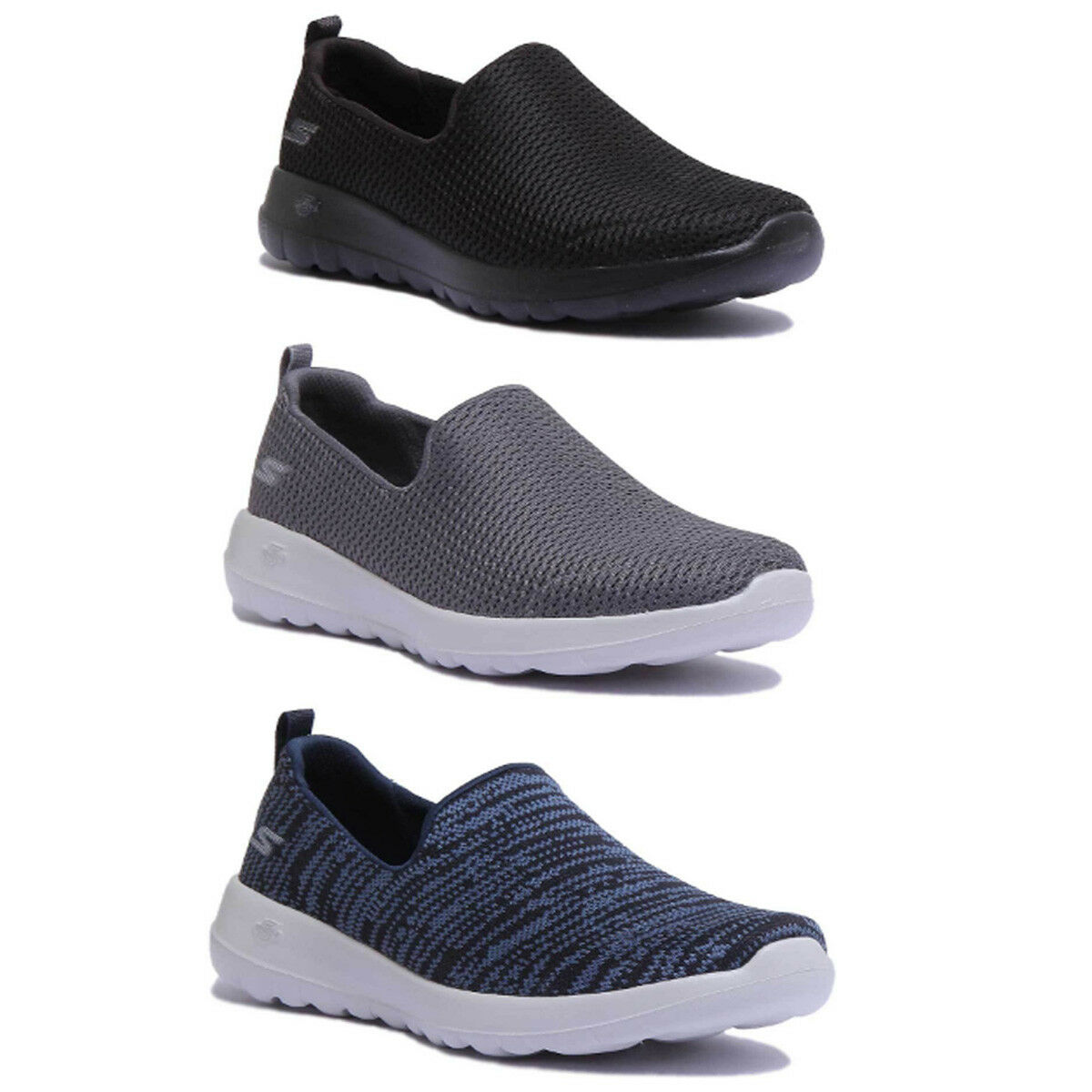 Skechers GoWalk Joy Damens Mesh Charcoal Slip On Trainers Größe UK 3 - 8