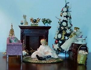 image is loading dollhouse christmas miniatures victorian living room diorama ooak - Christmas Miniatures