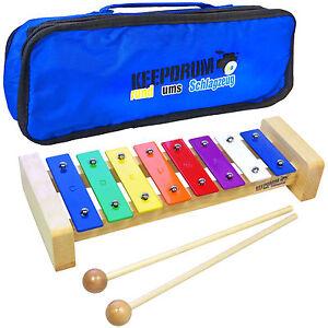 KEEPDRUM KGS Pro Kinder Glockenspiel aus Holz mit Tasche