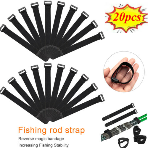 20pcs//Set Fishing Rod Tie Holder Strap Suspenders Fastener Loop Belts Kit Black