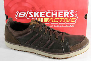 Skechers-Homme-Chaussures-a-Lacets-Baskets-Chaussures-basses-Brun-cuir-NEUF