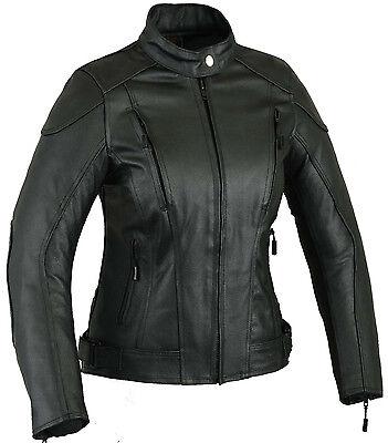 Womens Imapct Leather Motorbike Protection Jacket Ladies Motorcycle Coat