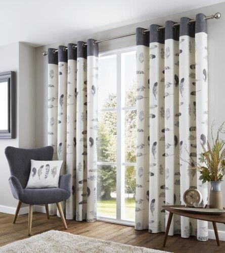 Feder Grau Creme Beige Weiß Liniert 100% Cotton Vorhänge Ringaufhängung 8 Größen | Verschiedene Arten Und Die Styles  | Genialität