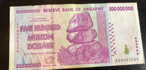 10 20 50 100 TRILLION ZIMBABWE 500 MILLION DOLLARS 2008 circulated F.