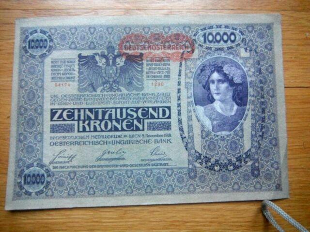 European Currency   10,000 Kronen Note  1918 Austria  Beutiful Large Note