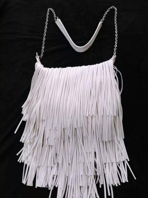 New Steve Madden Womens White Fringe Crossbody Handbag Chain Leather Large