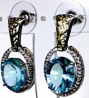 Blue Helenite, Diamond Earrings 14k Yg And Platinum Overlay Silver Tgw 9.06 Cts