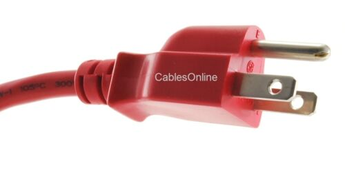 Red 18AWG NEMA 5-15P to IEC C13 Power Cable 5-Pack 1ft Short 3-Conductor