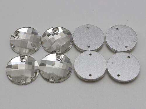 20 Clear Faceted Round Flatback Crystal Sewing Rhinestone Gems 18mm Sew on Beads