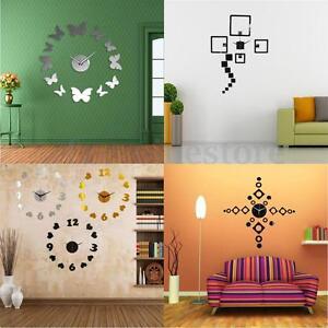 Das Bild Wird Geladen 3D Modern Design Wanduhr Spiegel Wandtattoo Wohnzimmer Wanddeko