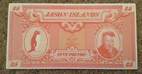 Jason Island Banknote. £5. Unc. Dated 1979.