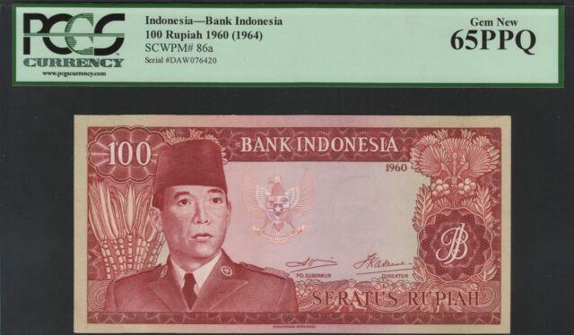 Indonesia 100 rupiah 1960, PCGS 65PPQ , Pick 86a / H-271