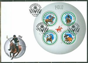 """NIGER 2013 """"POLO CHAMPIONS"""" SHEET OF FOUR STAMPS FDC"""