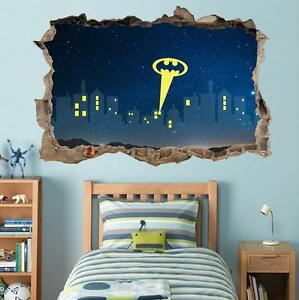 gotham city skyline night smashed wall decal removable gotham city wall mural with batman nightlight kids room