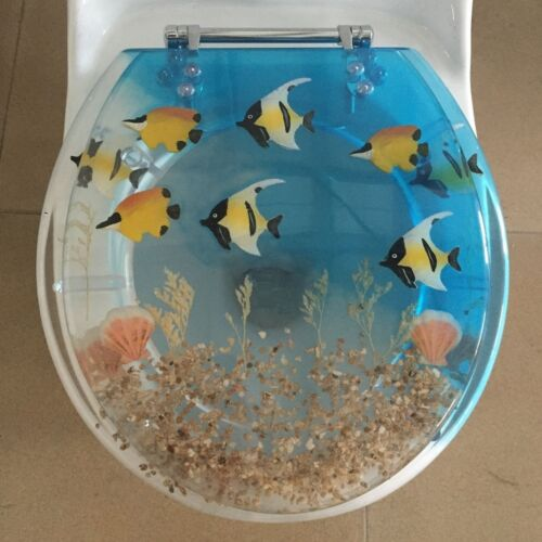 "Elongated Fish Aquarium Acrylic Oval shaped Toilet Seat Blue//Clear 19/"" INCH"