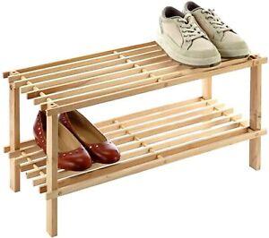 New Wooden Shoe Rack Organizer 2 Tier Small Shoe Rack Ebay