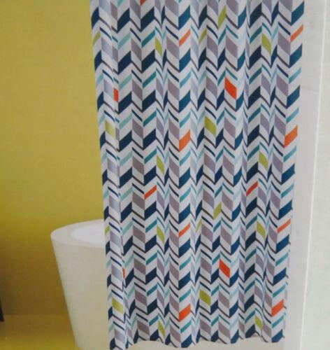 Room Essentials Chevron Pattern Shower Curtain White Teal Green 72x72 NEW!! D