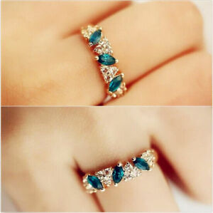 Elegant-Vintage-Women-Dazzling-Emerald-Rhinestone-Crystal-Jewelry-Finger-Ring-G
