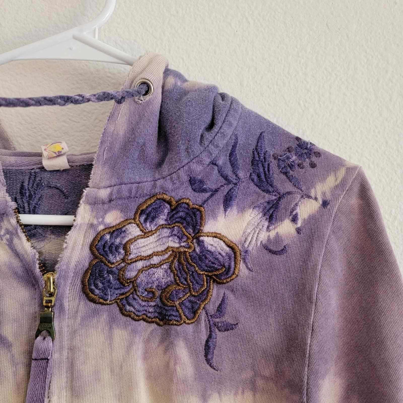 Penelope Violet Tie-Dye Embroidered Zip Up Sweater - image 6