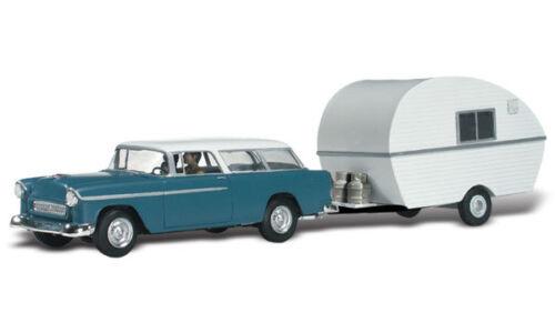 Woodland Scenics WAS5532 H0 PKW Szene Familie Thompson mit Wohnwagen auf Reisen
