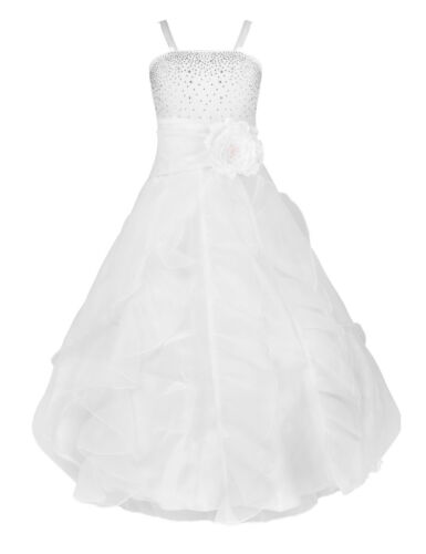 Floral Lace Flower Girl Dress Communion Wedding Bridesmaid Pageant Prom Gown