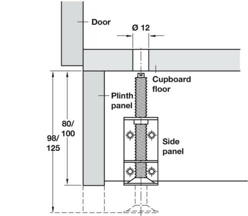 Häfele plinth height adjusters Adjustable Foot sockelfuß Socket Screw Steel h3956
