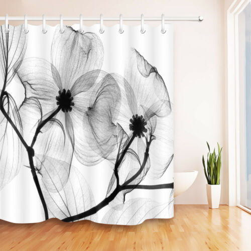 """72X72/"""" Abstract Transparent Black and White Floal Shower Curtain Bath Mat Rug"""