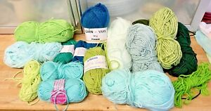 Knitting-Yarn-Wool-DK-Greens-450g-Spinning-Crafts-Crochet-Feltting-New-6M