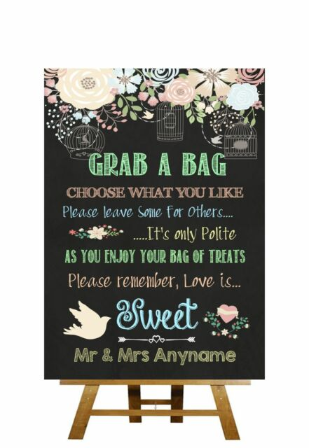 Pretty Chalkboard Style Love Is Sweet Candy Buffet Personalised Wedding Sign
