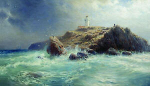 Art-Oil-painting-Lagorio-Lev-Lighthouse-nice-seascape-ocean-waves-rock-canvas