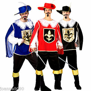 Image is loading Mens-Adult-Three-Musketeers-Cavalier-Fancy-Dress-Costume-  sc 1 st  eBay & Mens Adult Three Musketeers Cavalier Fancy Dress Costume Hat Stag ...