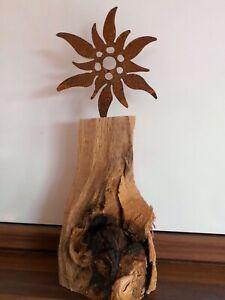 Edelrost-Edelweiss-auf-Holzsockel-Dekoration-Tischdekoration-Handarbeit-Unikat