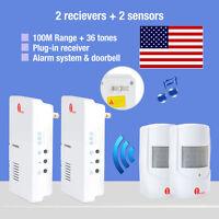 2x Wireless Us Plug Door Chime Driveway Motion Detector Alarm 100m 36 Melodies