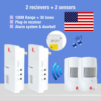2x Wireless Us Plug Door Chime Driveway Motion Detector Alarm 100m 36 Melodies