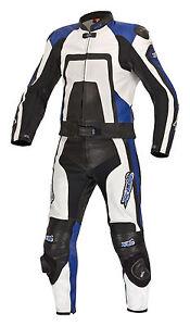 Neue-hochwertige-Lederkombi-Kurzgroesse-zweiteilig-schwarz-blau-Leather-Suit