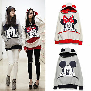 damen mickey minnie maus kapuzen pullover sweatshirt. Black Bedroom Furniture Sets. Home Design Ideas