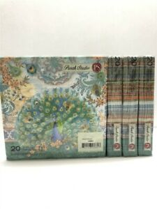 Lot of 4 Punch Studio Luncheon Napkins 53664 Royal Peacock, Discontinued!