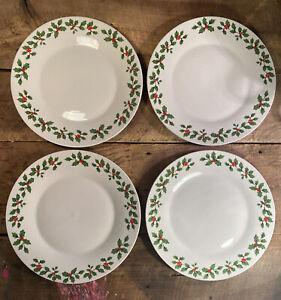"Set of 4 Royal Norfolk Holly & Berries 10.5"" Dinner Plate Christmas Kitchen"