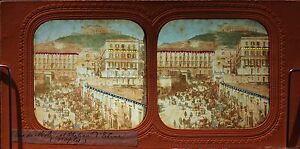 Napoli-Mole-Chateau-Italia-Foto-Diorama-Stereo-Vintage-Albumina