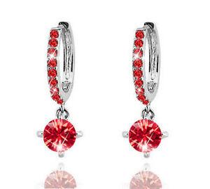Diamante-Crystal-Silver-with-Red-Zircons-Rhinestone-Hoops-Drop-Earrings-E550